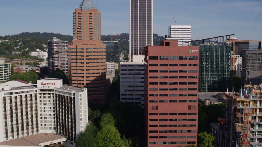 5.7K stock footage aerial video flying by Umpqua Bank Plaza, downtown skyscrapers, Downtown Portland, Oregon Aerial Stock Footage | DX0001_000228