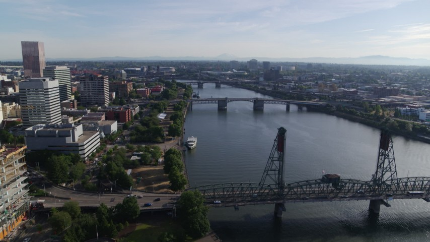 5.7K stock footage aerial video of bridges spanning the Willamette River, Downtown Portland, Oregon Aerial Stock Footage   DX0001_000231