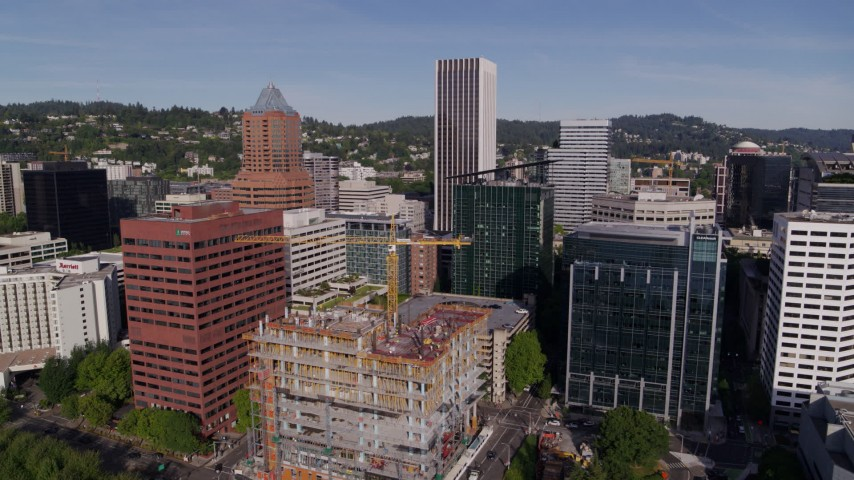 5.7K stock footage aerial video of downtown office buildings and World Trade Center in Downtown Portland, Oregon Aerial Stock Footage | DX0001_000234