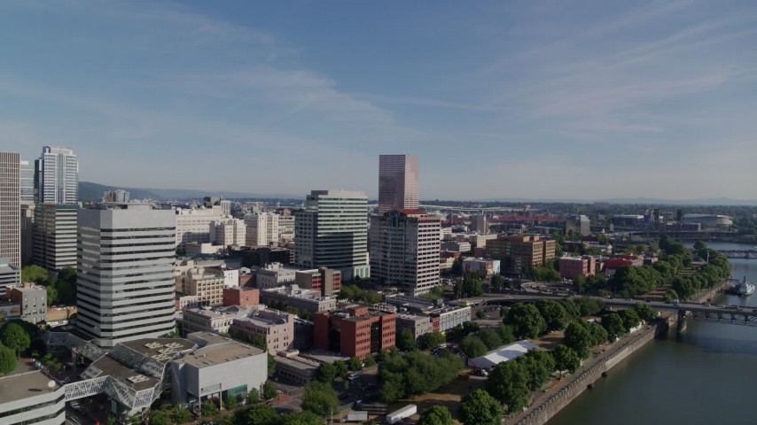 5.7K stock footage aerial video of office buildings along Willamette River, Downtown Portland, Oregon Aerial Stock Footage | DX0001_000239