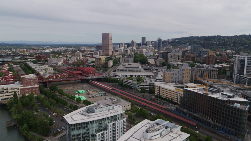 5.7K stock footage aerial video of Union Station and downtown skyscrapers seen from the Pearl District, Portland, Oregon Aerial Stock Footage | DX0001_000261