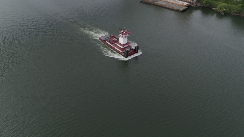 5.7K stock footage aerial video tracking a tugboat in the river, North Portland, Oregon Aerial Stock Footage | DX0001_000263