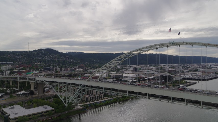5.7K stock footage aerial video of Fremont Bridge and Northwest industrial area, Portland, OR Aerial Stock Footage | DX0001_000269