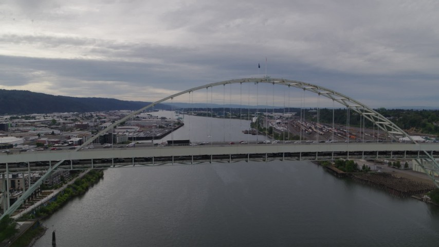 5.7K stock footage aerial video of heavy traffic on Fremont Bridge, sunset, Portland, Oregon Aerial Stock Footage | DX0001_000270