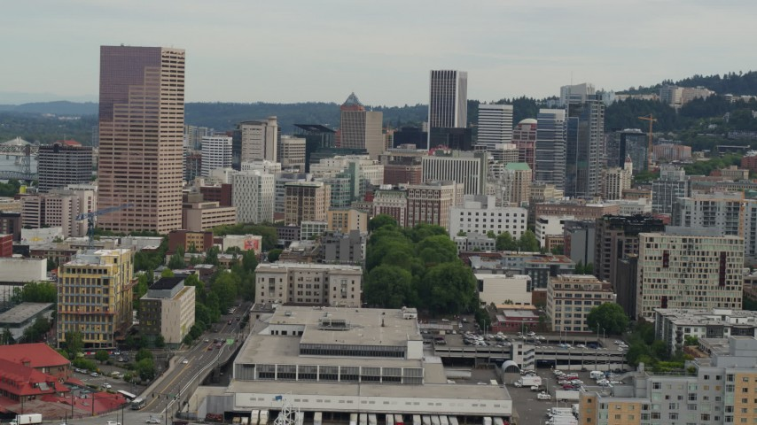 5.7K stock footage aerial video of US Bankcorp Tower seen from the Peal District, sunset, Downtown Portland, Oregon Aerial Stock Footage   DX0001_000274