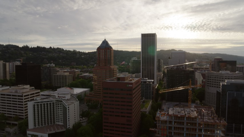 5.7K stock footage aerial video of office buildings and skyscrapers, sunset, Downtown Portland, Oregon Aerial Stock Footage | DX0001_000292