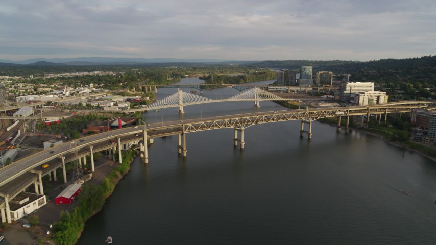 5.7K stock footage aerial video approaching Marquam bridge with light traffic, sunset, South Portland, Oregon Aerial Stock Footage | DX0001_000295