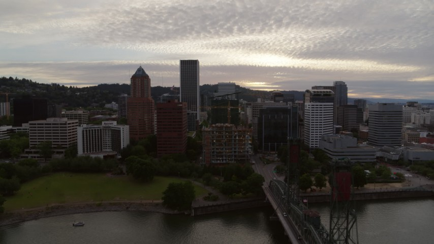 5.7K stock footage aerial video of a wide view of the Downtown Portland skyline at sunset, Oregon Aerial Stock Footage | DX0001_000300