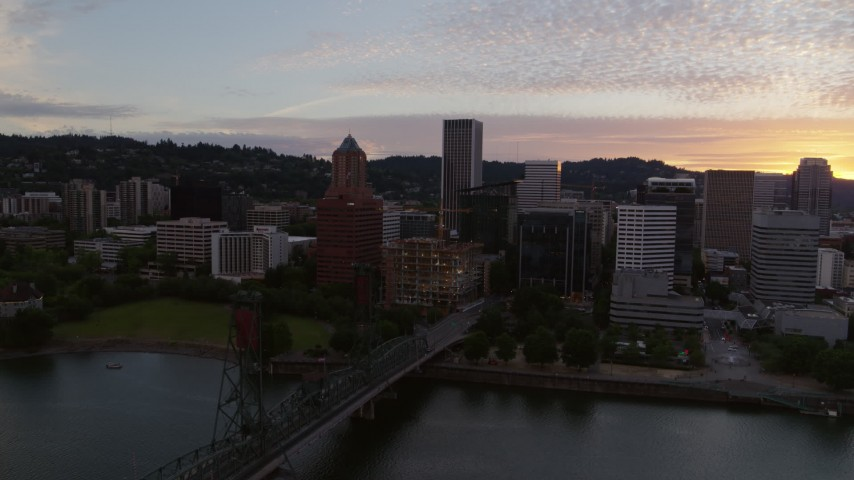 5.7K stock footage aerial video of Downtown Portland, Oregon at twilight Aerial Stock Footage | DX0001_000314
