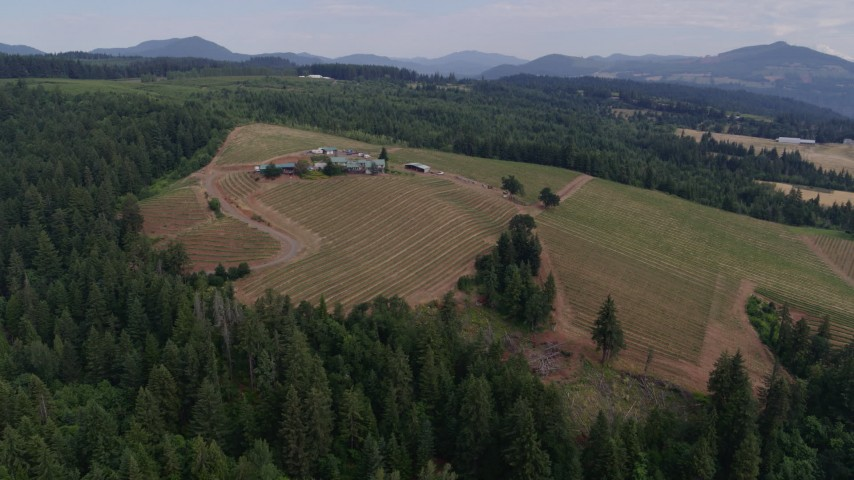 5.7K stock footage aerial video wide orbit of winery, Hood River, Oregon Aerial Stock Footage | DX0001_000328