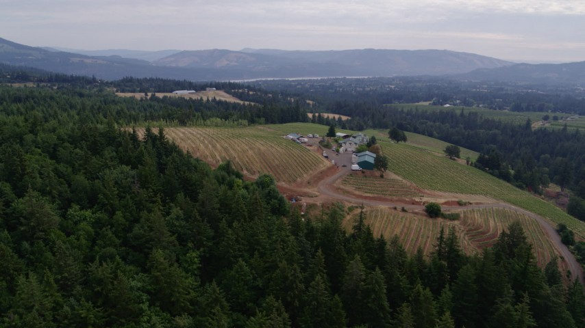 5.7K stock footage aerial video of a wide angle orbit of winery with mountains in background, Hood River, Oregon Aerial Stock Footage | DX0001_000330