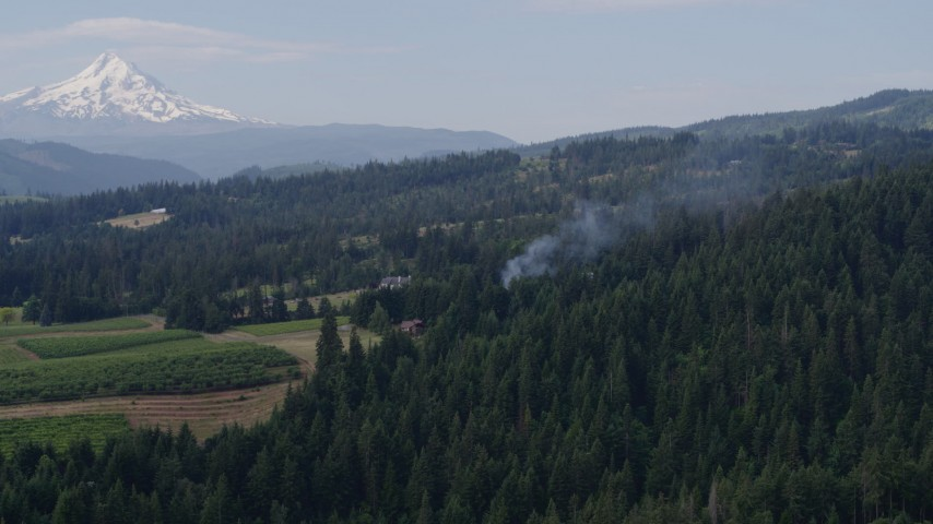 5.7K aerial video of smoke rising from trees near homes, reveal Mt Hood, Hood River, Oregon Aerial Stock Footage | DX0001_000350