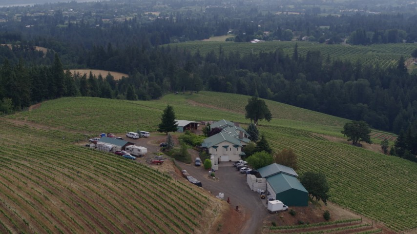 5.7K stock footage aerial video of vineyards and winery on a hilltop, Hood River, Oregon Aerial Stock Footage | DX0001_000354