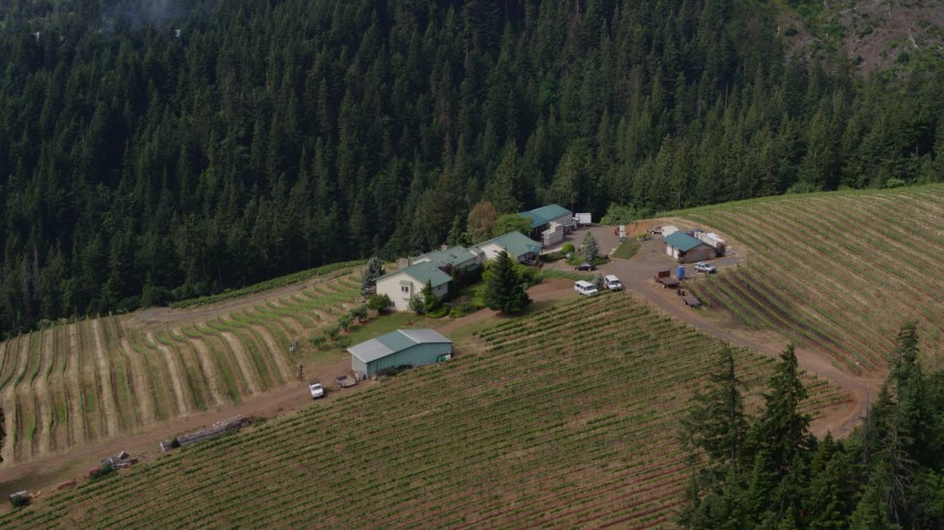 5.7K stock footage aerial video of a hilltop winery and vineyards, Hood River, Oregon Aerial Stock Footage | DX0001_000362