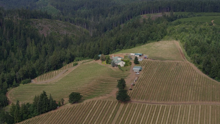5.7K aerial video of a wide orbit of a hilltop winery, Hood River, Oregon Aerial Stock Footage | DX0001_000364