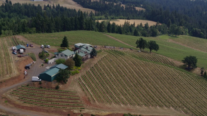 5.7K stock footage aerial video of flying close to the winery and vineyard, Hood River, Oregon Aerial Stock Footage | DX0001_000371