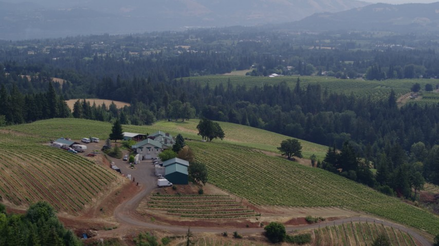 5.7K aerial video of a reverse view of the Phelps Creek Vineyards with mountains in the distance, Hood River, Oregon Aerial Stock Footage | DX0001_000372