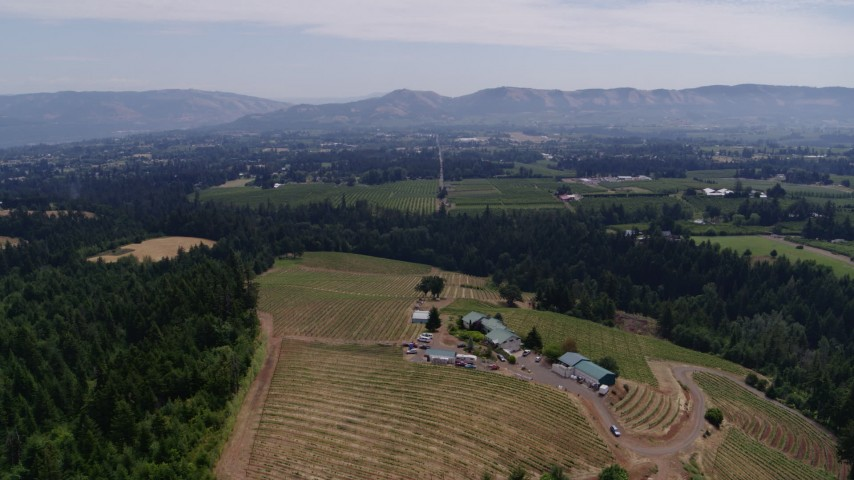 5.7K stock footage aerial video of descending toward hilltop buildings and grapevines at Phelps Creek Vineyards in Hood River, Oregon Aerial Stock Footage | DX0001_000429