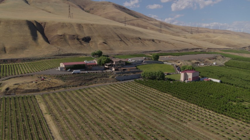 5.7K stock footage aerial video of an orbit of the Maryhill Winery and vineyards in Goldendale, Washington Aerial Stock Footage | DX0001_000434