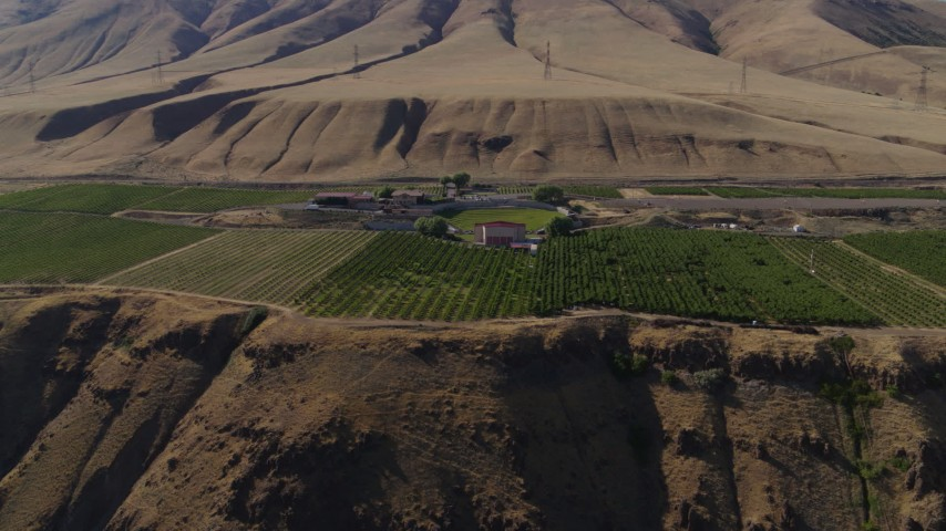 5.7K stock footage aerial video of the Maryhill Winery and vineyards in Goldendale, Washington Aerial Stock Footage   DX0001_000442