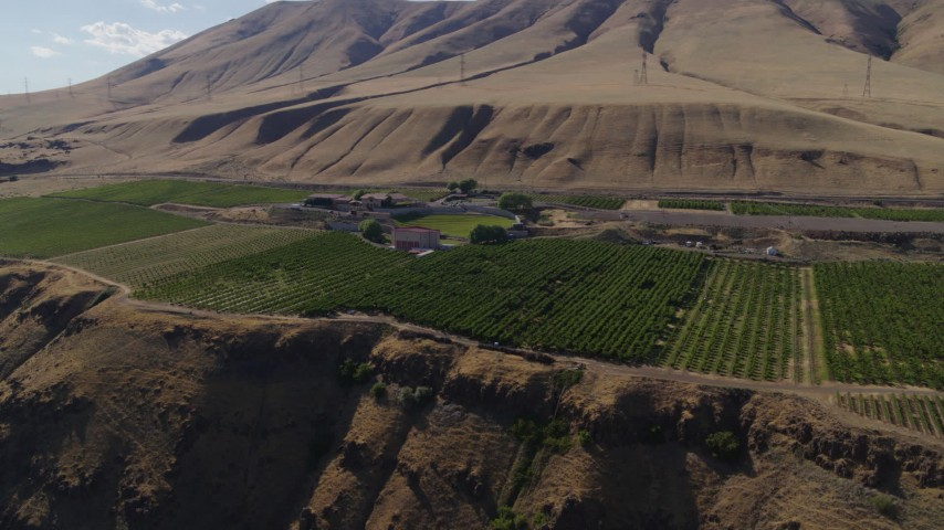 5.7K stock footage aerial video of the cliffside Maryhill Winery and vineyards in Goldendale, Washington Aerial Stock Footage   DX0001_000443