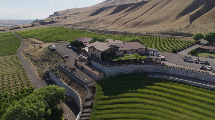 5.7K stock footage aerial video flying by the Maryhill Winery and amphitheater in Goldendale, Washington Aerial Stock Footage | DX0001_000449