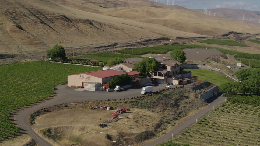 5.7K stock footage aerial video of buildings at the Maryhill Winery in Goldendale, Washington Aerial Stock Footage | DX0001_000452