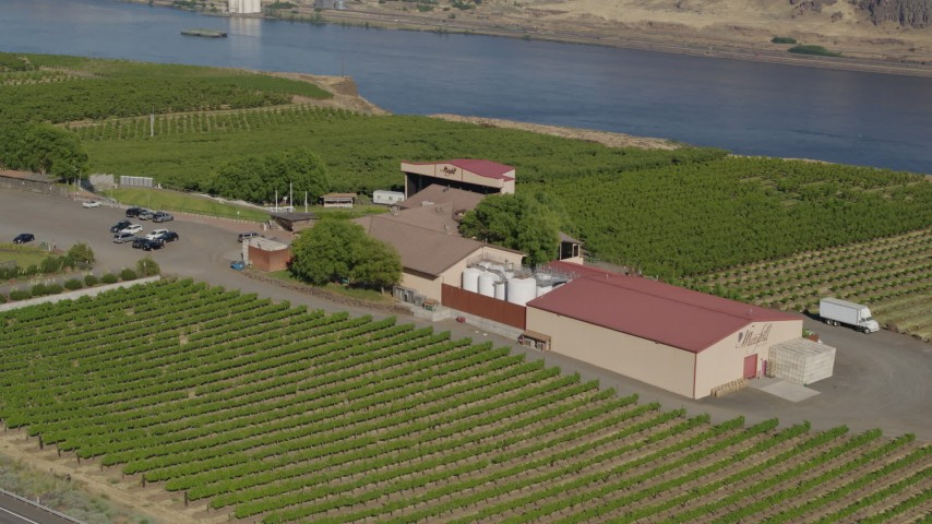 5.7K stock footage aerial video of orbiting the Maryhill Winery, with views of the Columbia River in Goldendale, Washington Aerial Stock Footage | DX0001_000460