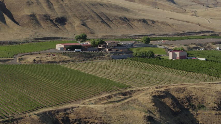 5.7K stock footage aerial video of a stationary view of the Maryhill Winery in Goldendale, Washington Aerial Stock Footage | DX0001_000461