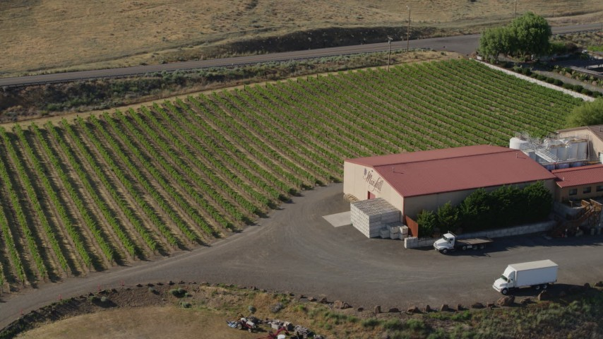 5.7K stock footage aerial video of orbiting the side of the Maryhill Winery in Goldendale, Washington Aerial Stock Footage | DX0001_000463