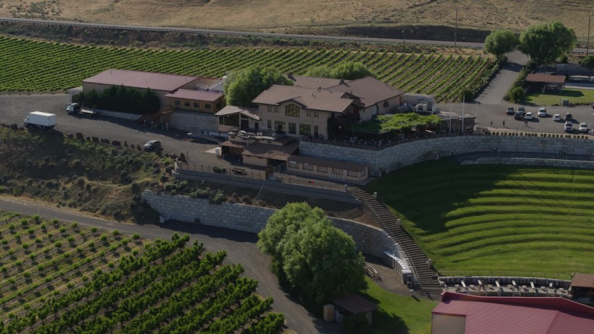 5.7K stock footage aerial video of the Maryhill Winery and amphitheater in Goldendale, Washington Aerial Stock Footage | DX0001_000465