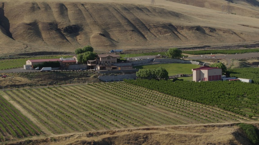 5.7K stock footage aerial video of a view of the Maryhill Winery and amphitheater in Goldendale, Washington Aerial Stock Footage | DX0001_000469