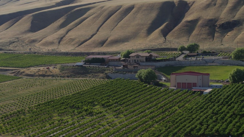 5.7K stock footage aerial video of circling around the Maryhill Winery and amphitheater in Goldendale, Washington Aerial Stock Footage | DX0001_000470