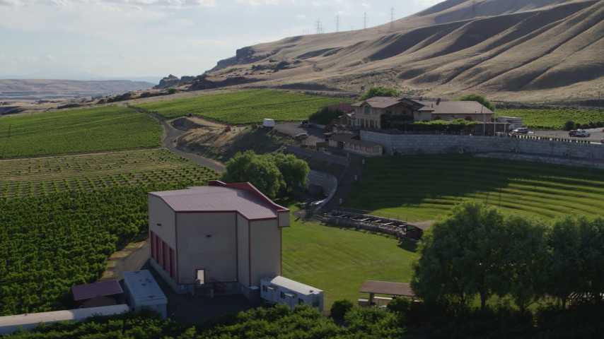 5.7K stock footage aerial video of a low altitude orbit of the Maryhill Winery in Goldendale, Washington Aerial Stock Footage | DX0001_000474