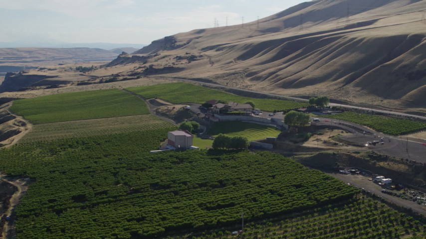 5.7K stock footage aerial video orbit the Maryhill Winery, reveal Columbia River in Goldendale, Washington Aerial Stock Footage | DX0001_000480