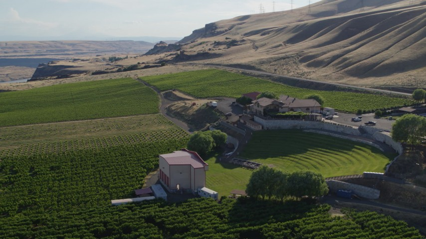 5.7K stock footage aerial video approach and flyby the Maryhill Winery and amphitheater in Goldendale, Washington Aerial Stock Footage | DX0001_000487