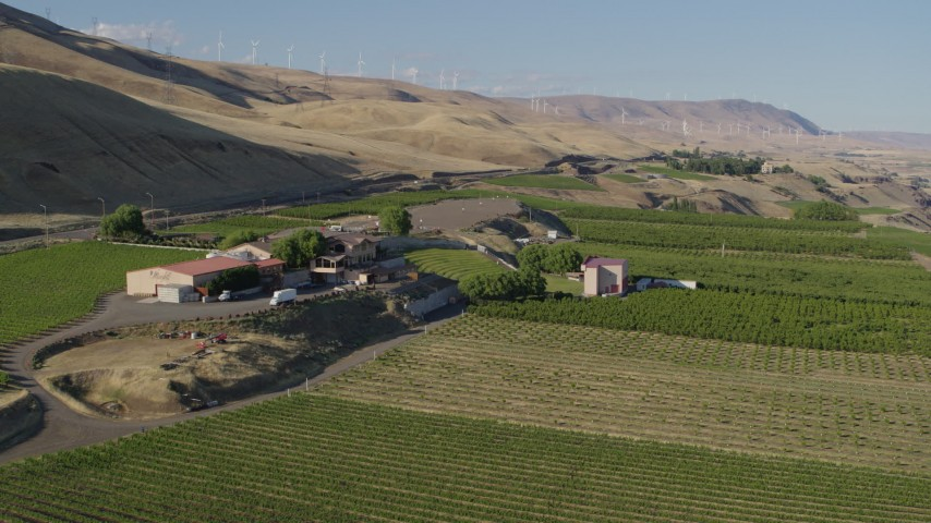 5.7K stock footage aerial video flyby the Maryhill Winery and amphitheater in Goldendale, Washington Aerial Stock Footage | DX0001_000488