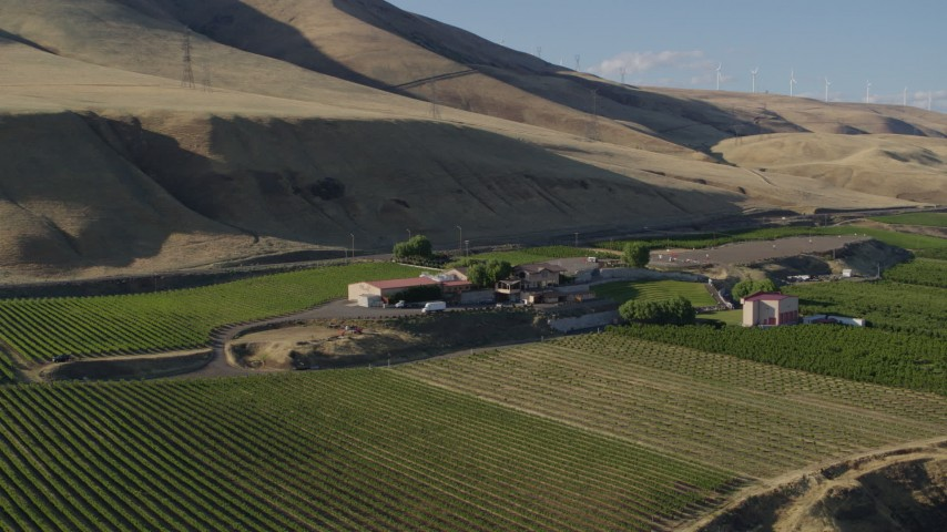 5.7K stock footage aerial video of the Maryhill Winery and amphitheater in Goldendale, Washington Aerial Stock Footage   DX0001_000494