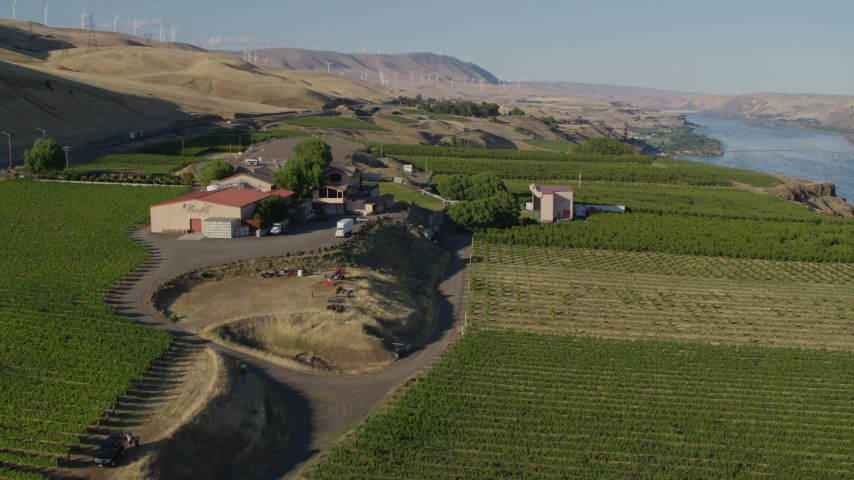 5.7K stock footage aerial video flyby and then away from Maryhill Winery and amphitheater in Goldendale, Washington Aerial Stock Footage | DX0001_000503