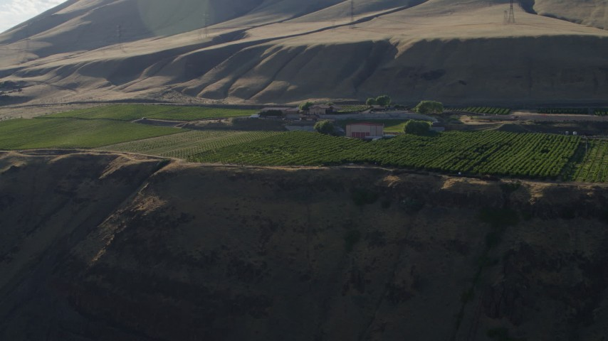 5.7K stock footage aerial video of the Maryhill Winery and amphitheater in Goldendale, Washington Aerial Stock Footage   DX0001_000504