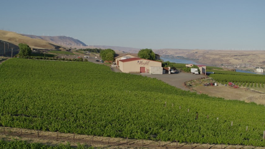 5.7K stock footage aerial video of flying over the Maryhill Winery in Goldendale, Washington for a wide view of the Columbia River Aerial Stock Footage | DX0001_000507