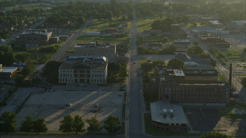 5.7K stock footage aerial video tracking a federal courthouse and medical center at sunrise, East St. Louis, Illinois Aerial Stock Footage | DX0001_000525