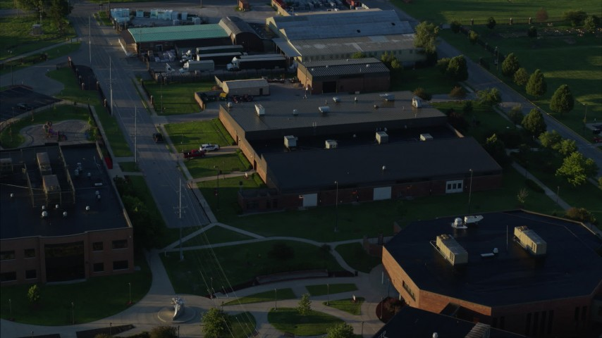 5.7K stock footage aerial video approach and fly over a community college, sunrise, East St. Louis, Illinois Aerial Stock Footage | DX0001_000530
