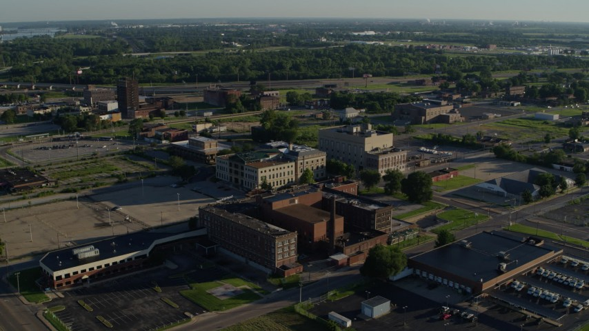 5.7K aerial video of a federal courthouse and medical center in a small town, sunrise, East St Louis, Illinois Aerial Stock Footage | DX0001_000555