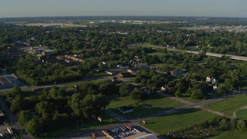 5.7K aerial video of a small residential area, sunrise, East St Louis, Illinois Aerial Stock Footage | DX0001_000560