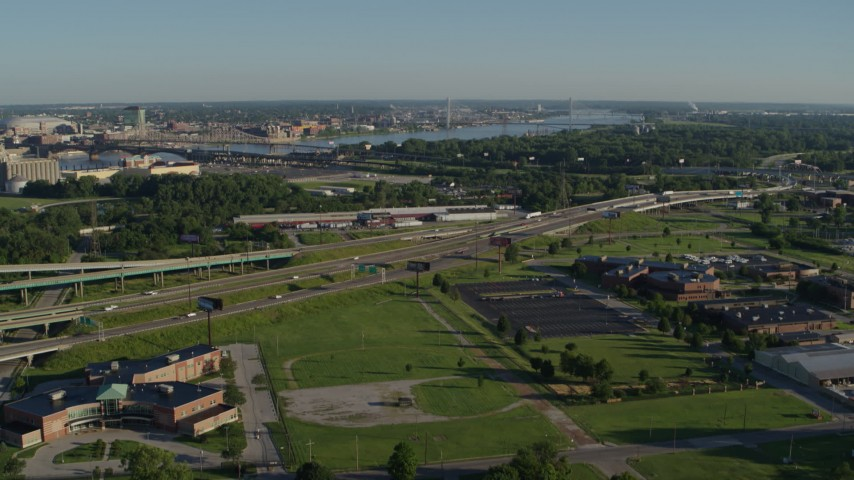 5.7K stock footage aerial video flying over residential area toward interstates and mental hospital, sunrise, East St Louis, Illinois Aerial Stock Footage | DX0001_000563