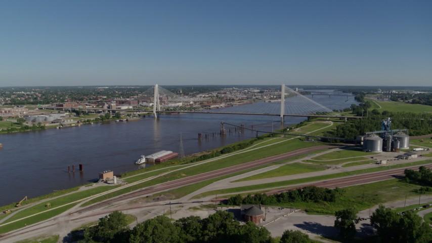 5.7K aerial video of Stan Musial Veterans Bridge and grain center in St. Louis, Missouri Aerial Stock Footage | DX0001_000586
