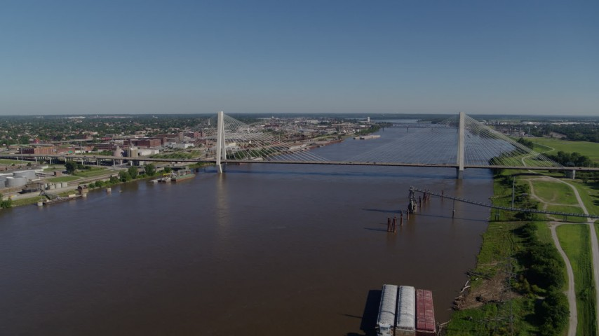 6K drone aerial of a cable-stayed bridge spanning a river, St. Louis, Missouri Aerial Stock Footage | DX0001_000587