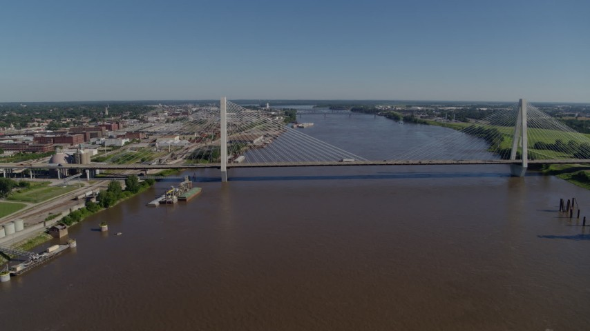 5.7K stock footage aerial video of passing a cable-stayed bridge spanning the Mississippi River, St. Louis, Missouri Aerial Stock Footage | DX0001_000588