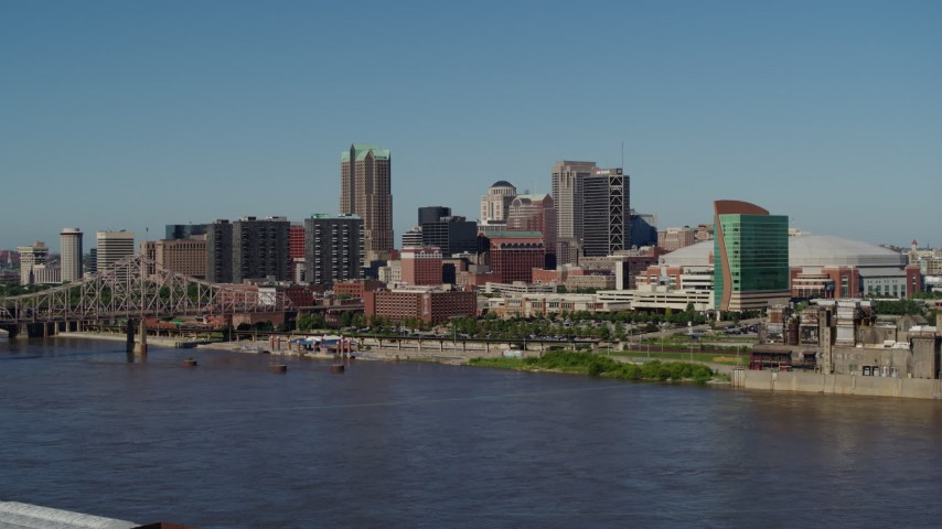 5.7K aerial video of skyscrapers in Downtown St. Louis, Missouri, seen from the Mississippi River Aerial Stock Footage | DX0001_000597